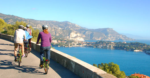 Bay of Villefranche w cyclists wide